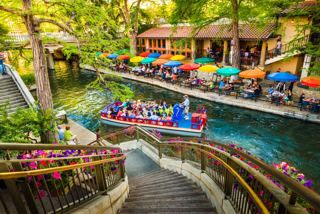 san antonio river walk and barge