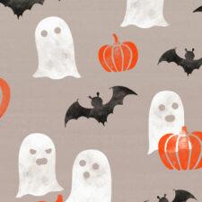 October autumn Halloween celebration seamless pattern with ghosts, bats and orange pumpkins., iStock