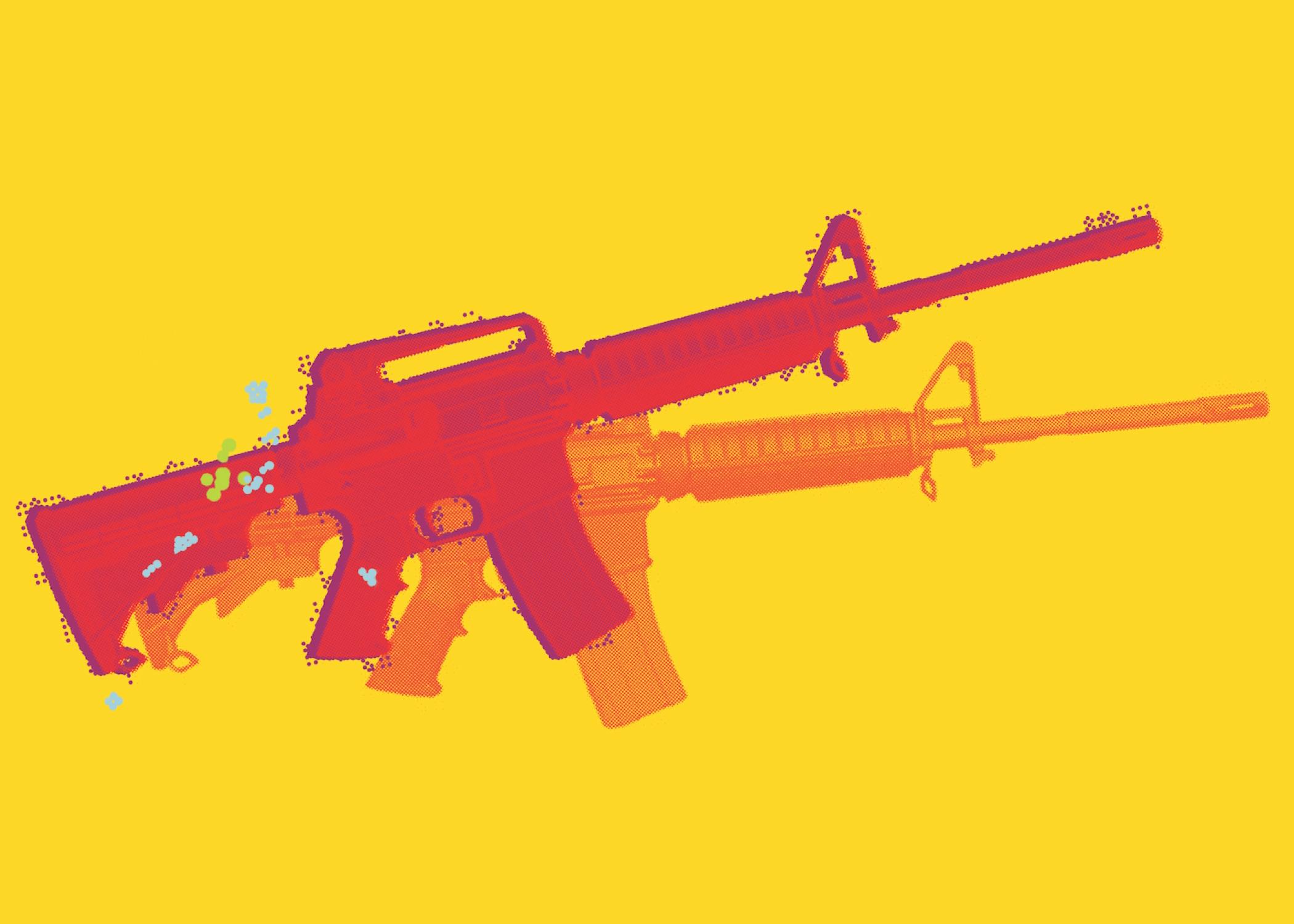 red and orange rifles