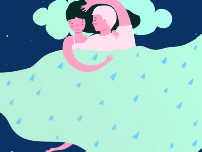 Illustration of couple sleeping