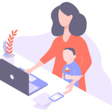 Working mom at home on computer with son