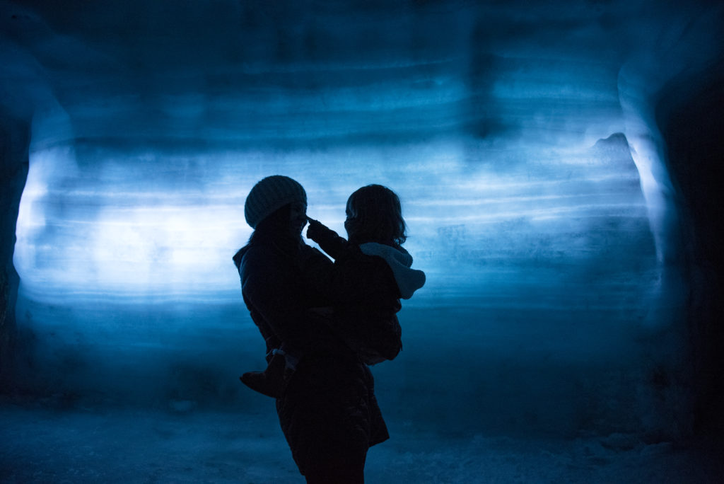 Mother and child on family trip to Iceland
