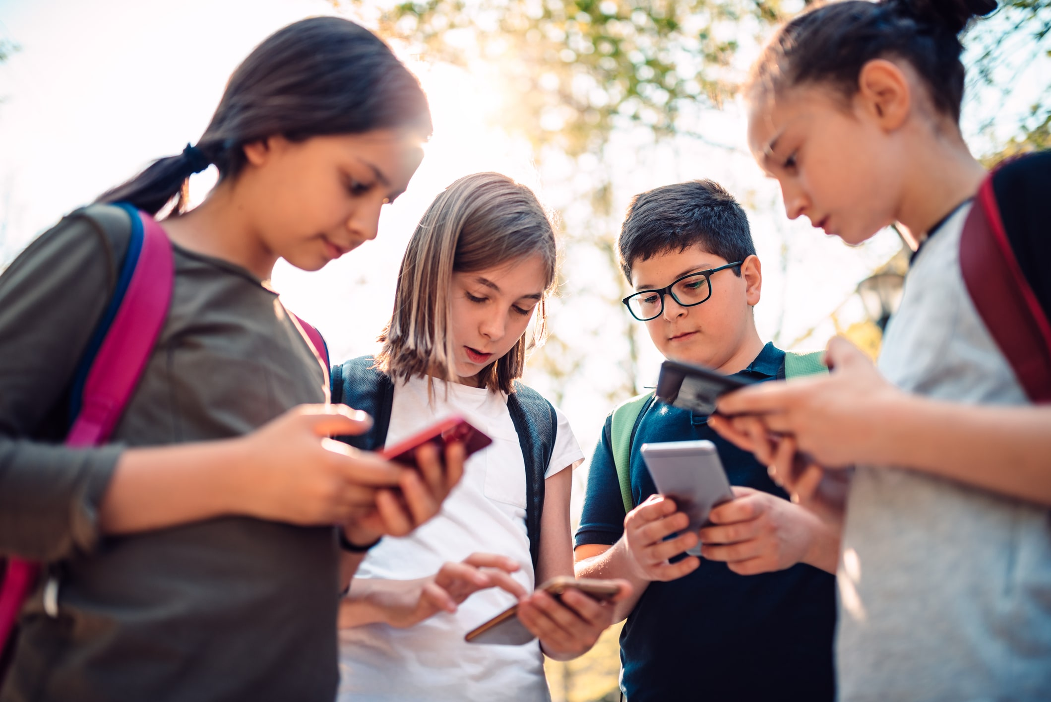 Kids on smartphones; TikTok, Instagram, social media safety