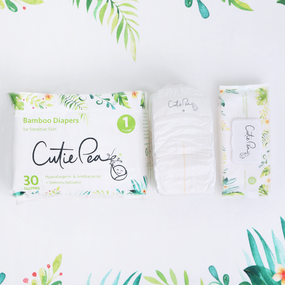 New mom items cutie pea diapers and wipes