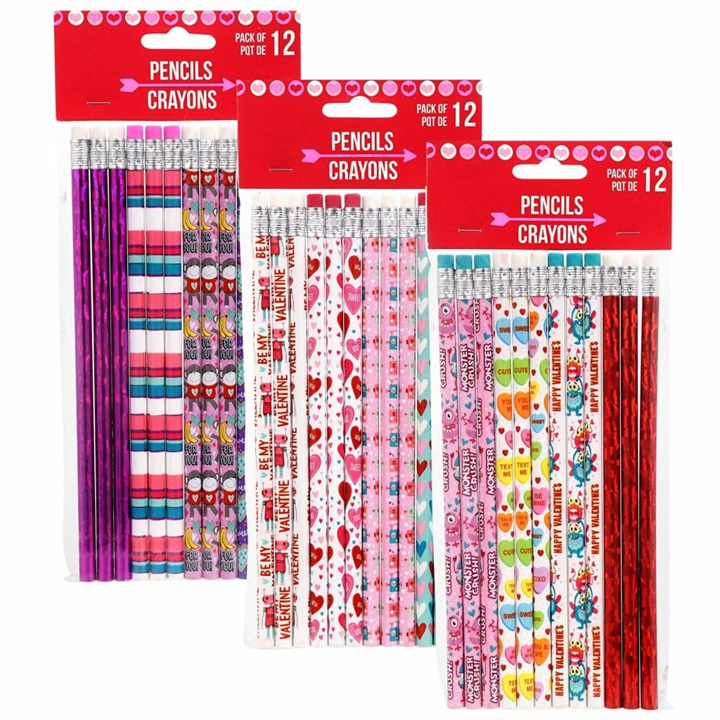 Kids valentine's day gifts valentines pencils