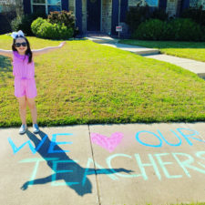 Celebrating teachers with chalk art and car parades