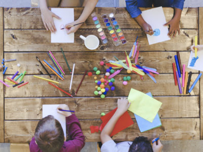 Kids doing at-home arts and crafts