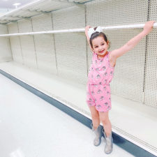 Stephanie Hanrahan's daughter at empty shelves from coronavirus panic