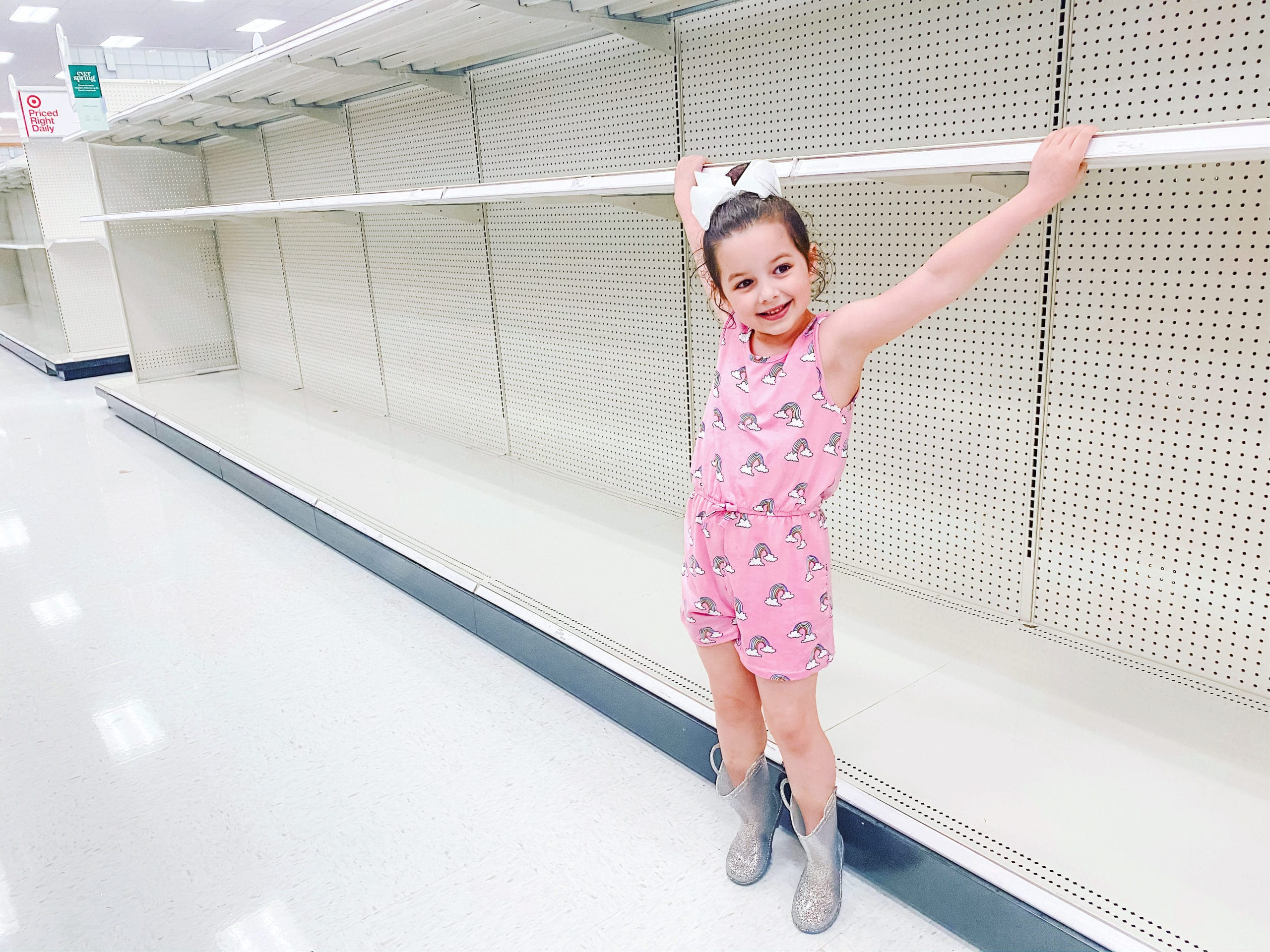 Stephanie Hanrahan's daughter at empty shelves from coronavirus panic