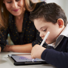Young boy using an educational app