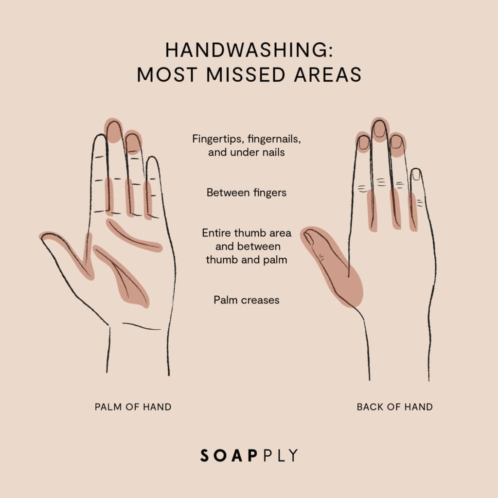 areas missed when hand washing