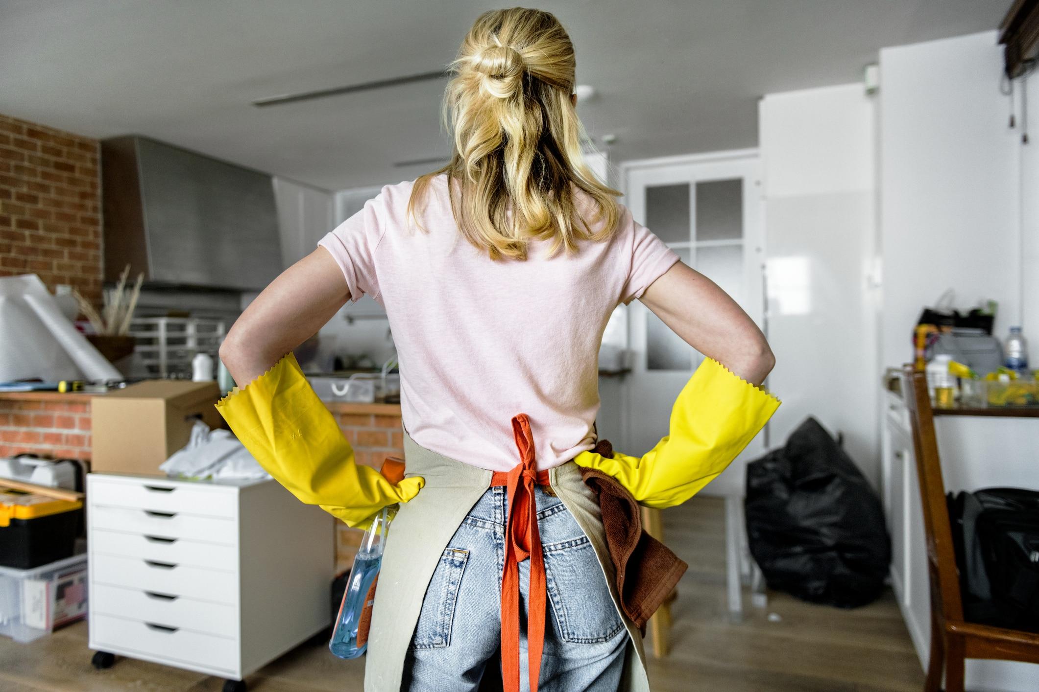 Mom doing household chores