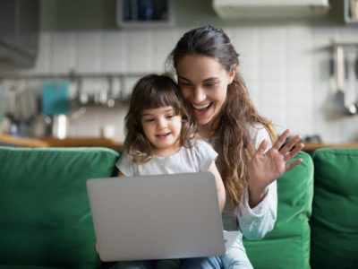 Mom and daughter using time to reconnect with others