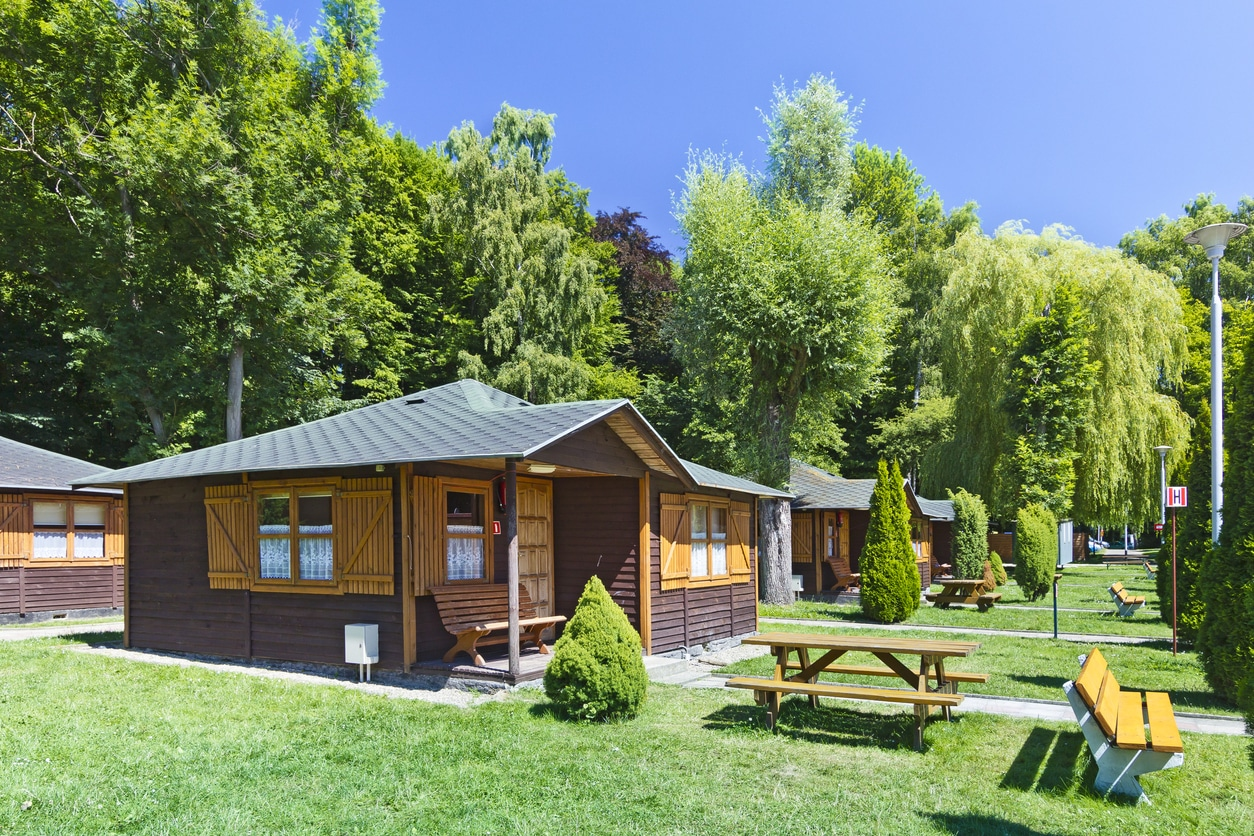 Camp cabins on camp grounds