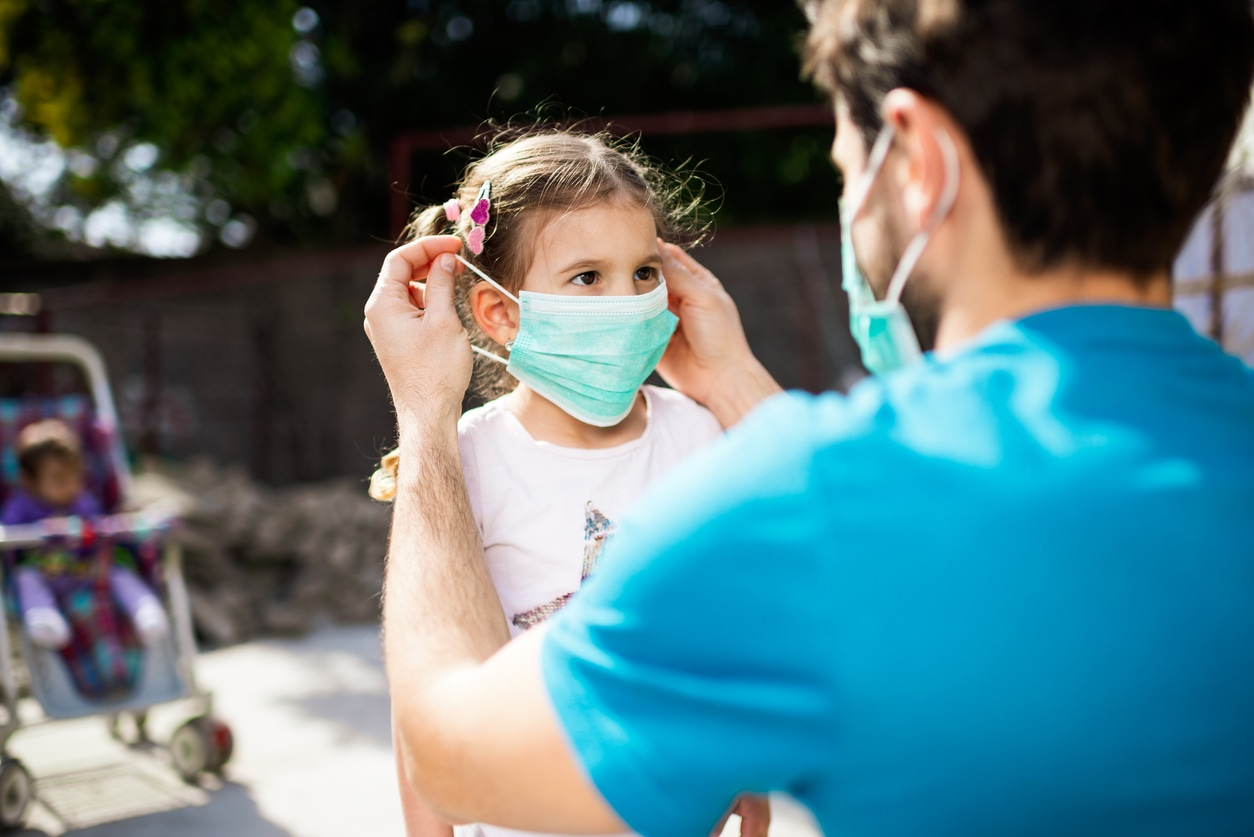 Little girl wearing a face mask during pandemic