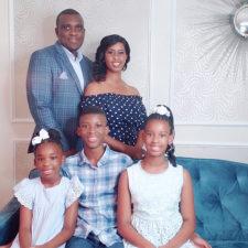 Ebonie Mbeteni and her family in Celina