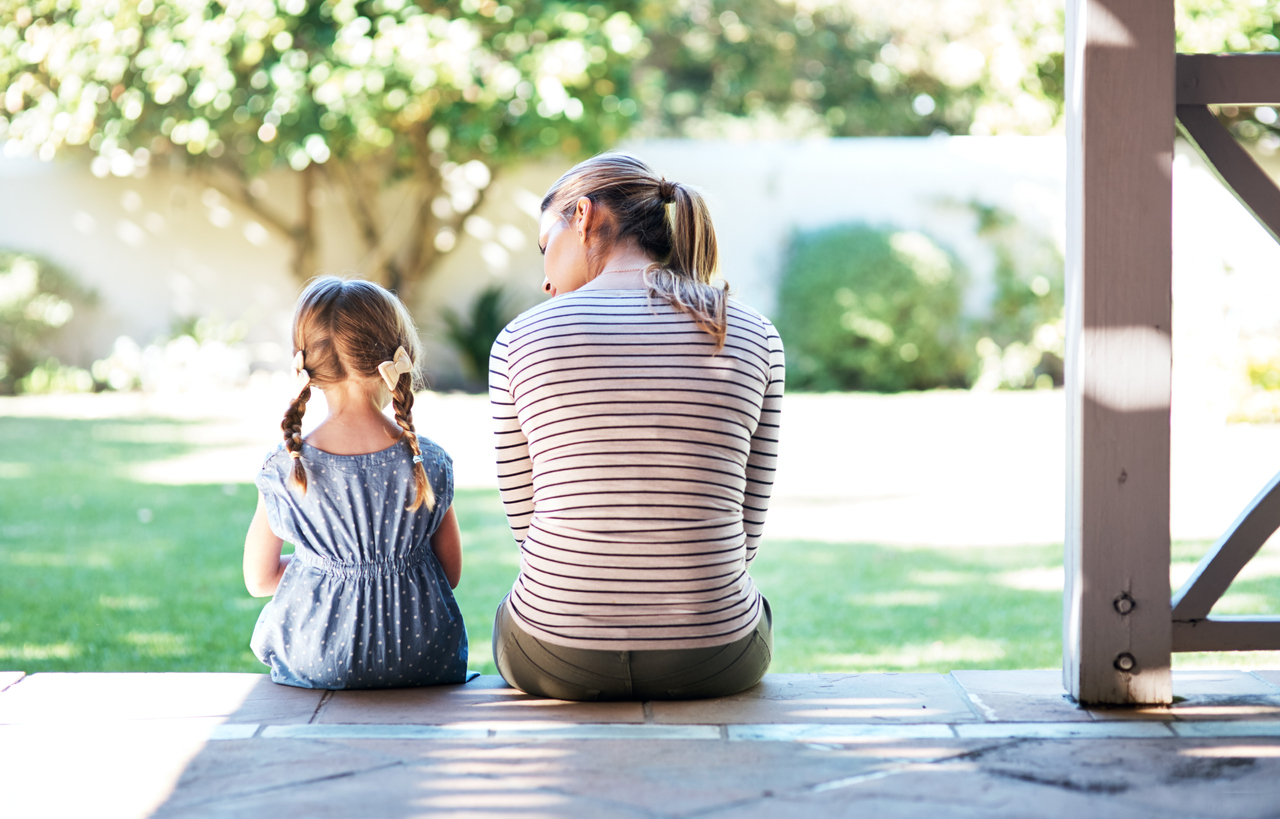 Mom helping daughter deal with grief