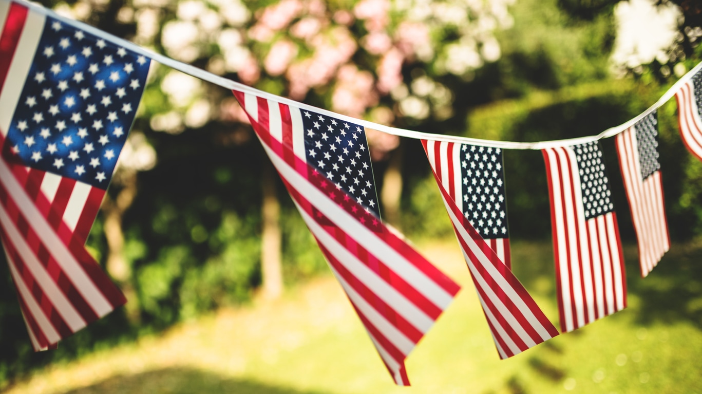 American flag garland for Fourth of July