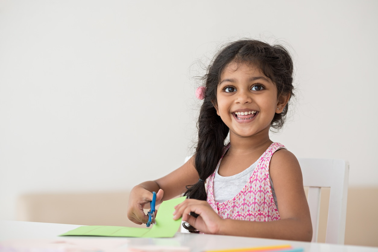 Little girl doing astronomy at-home activities