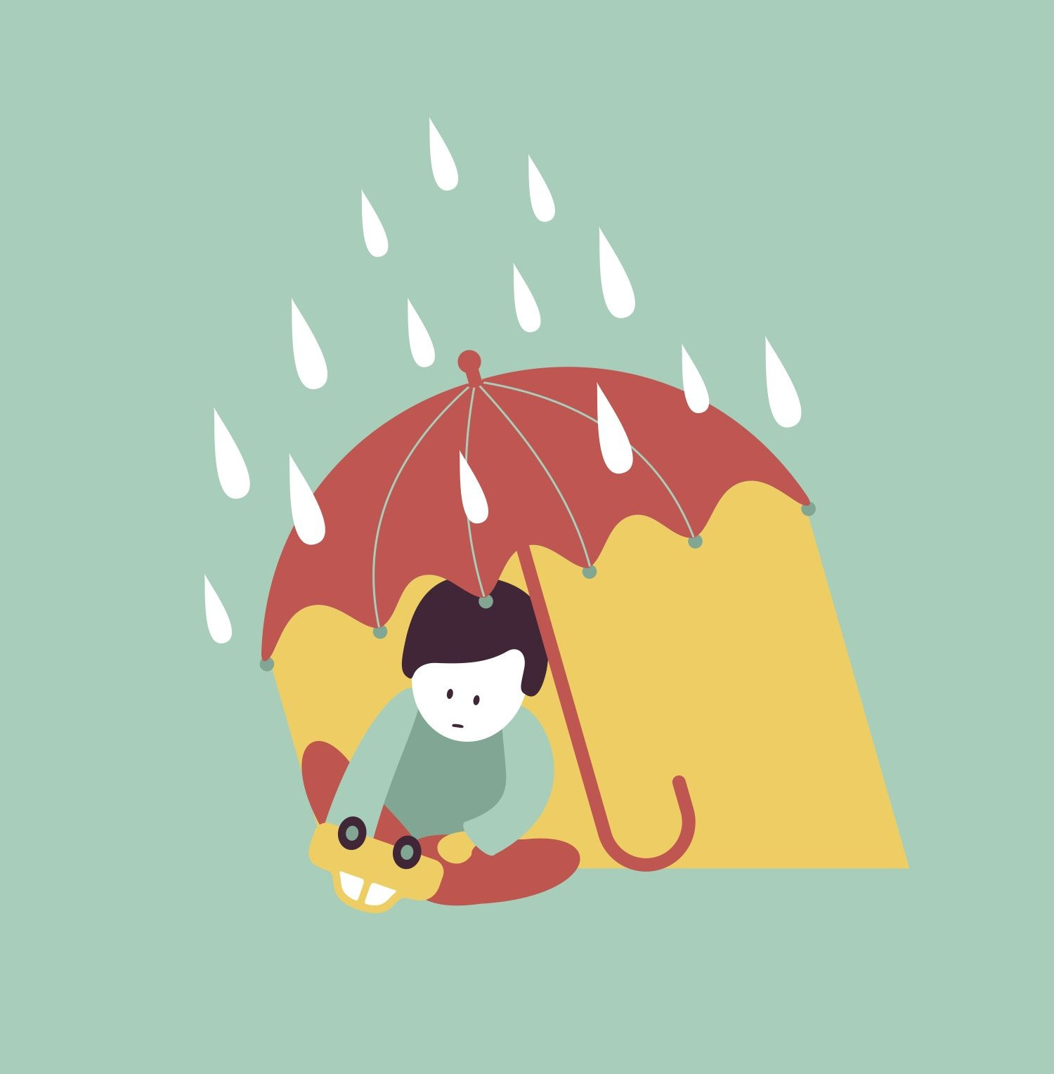 Child with autism playing under umbrella
