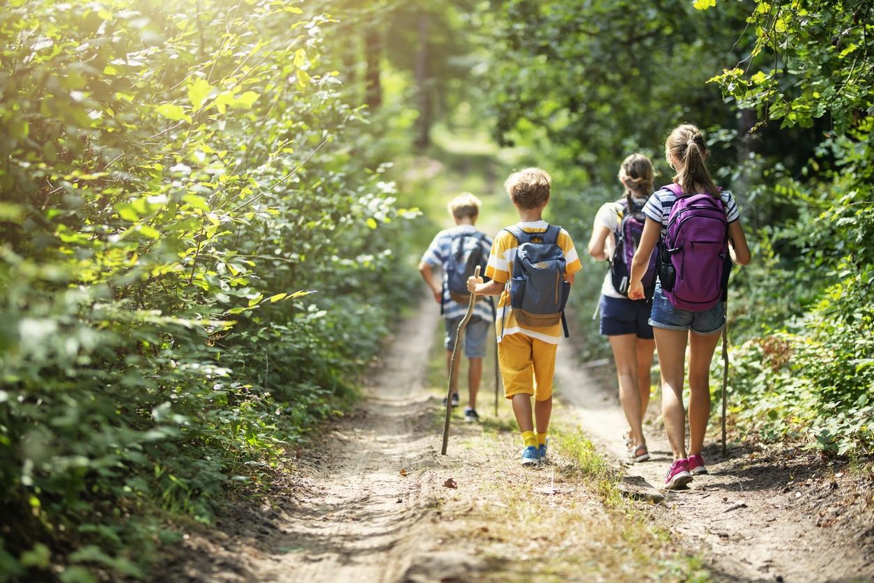 Family enjoying a hike