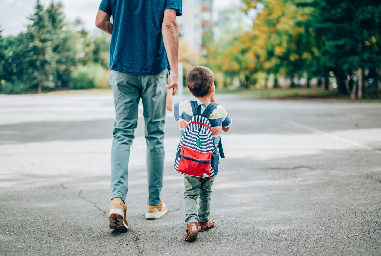 Father and son going back to school