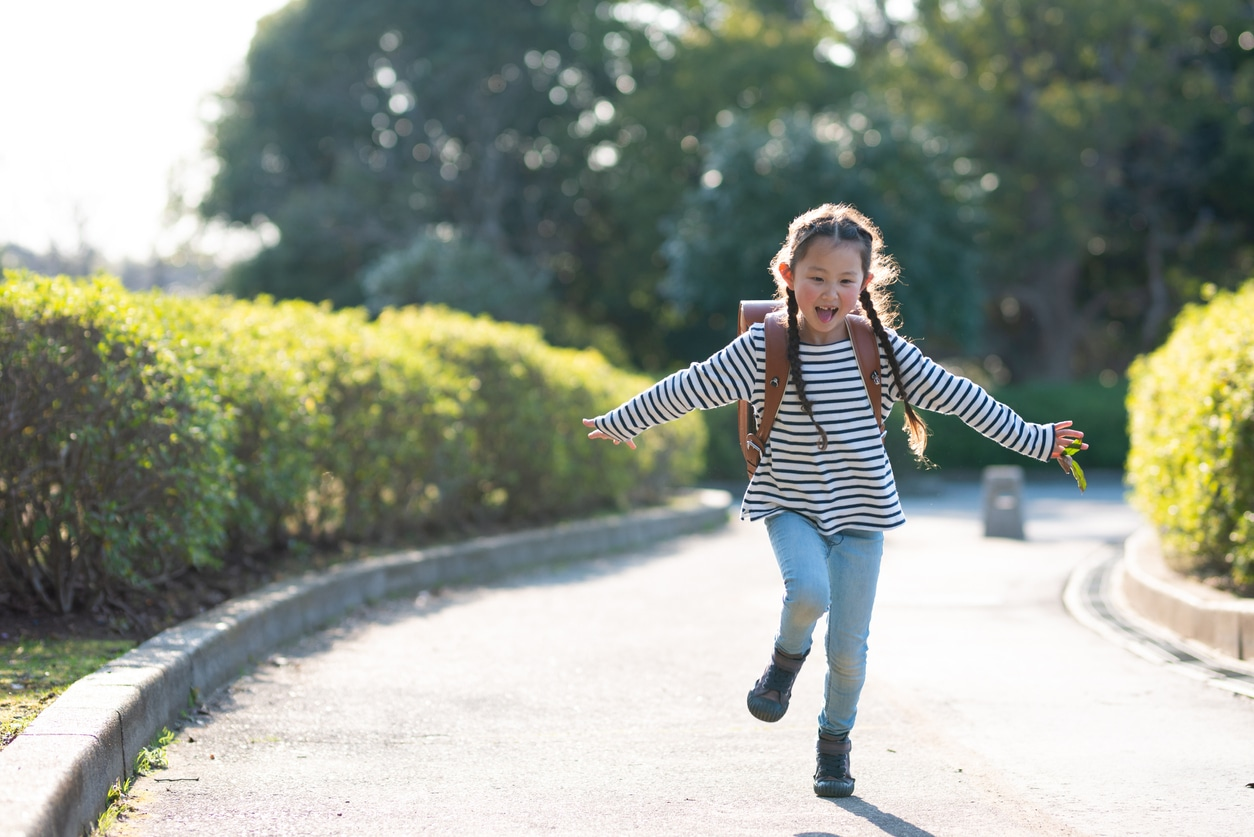 Little girl going back to school in fashion