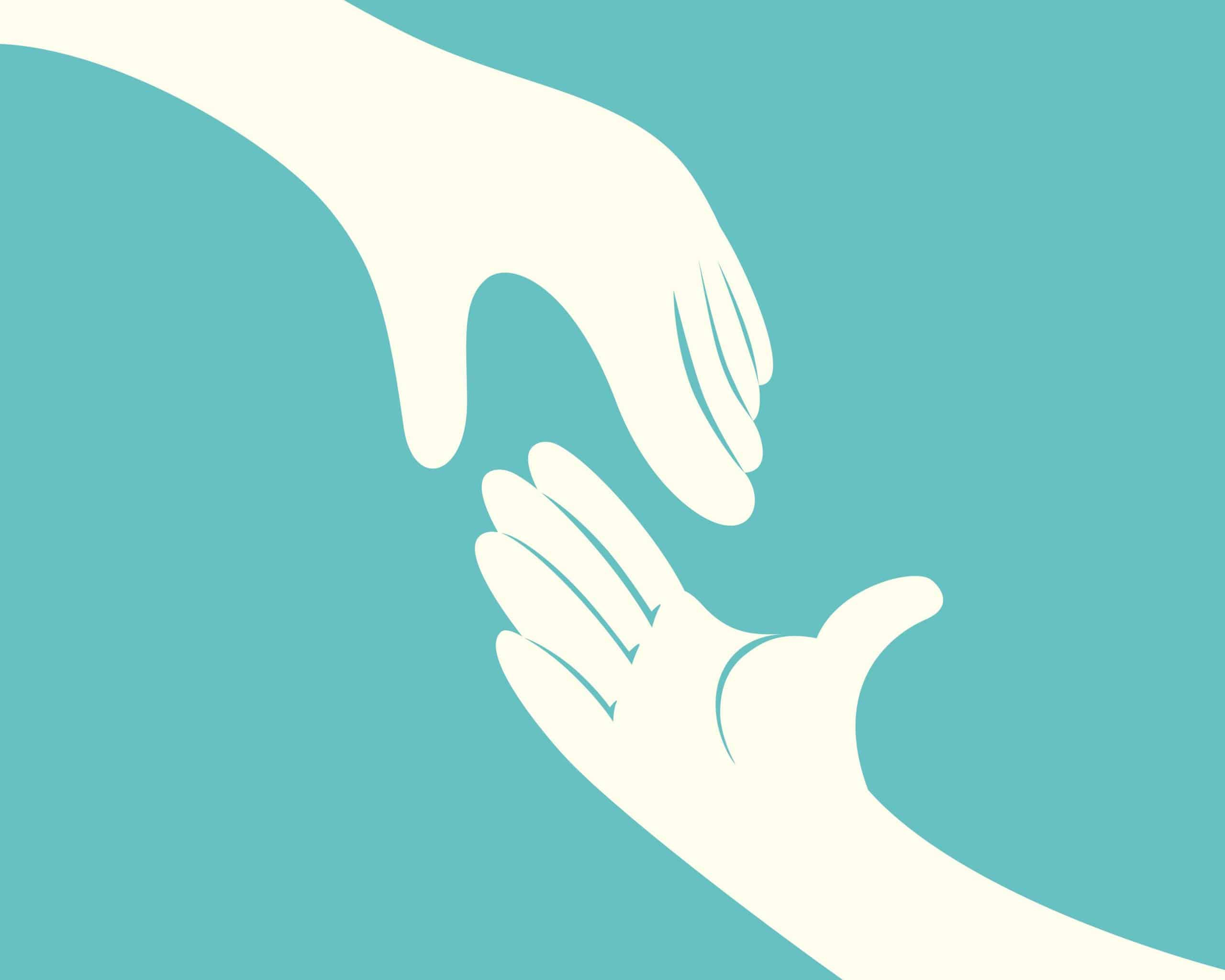 Two hands reaching toward moral courage
