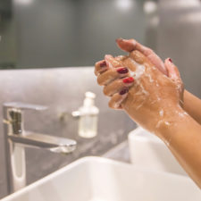 Woman hand washing