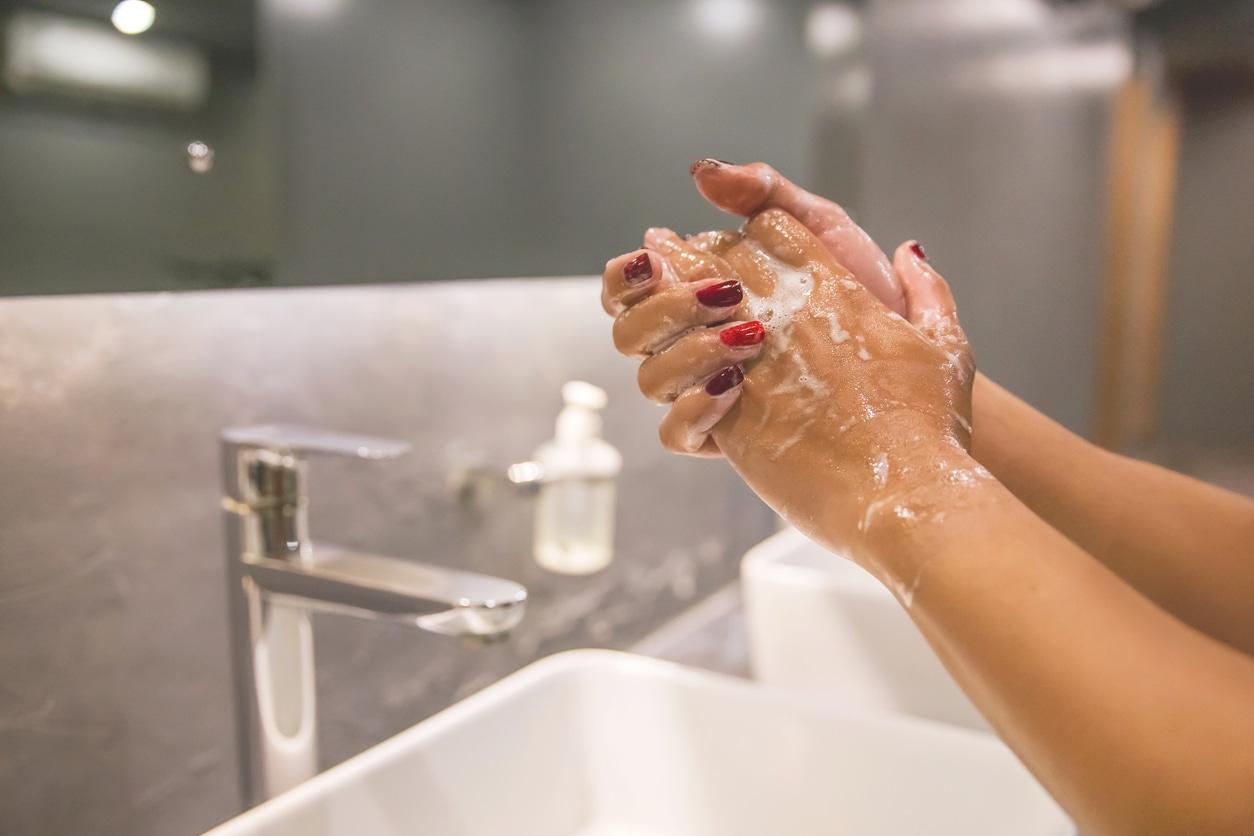 Woman hand washing