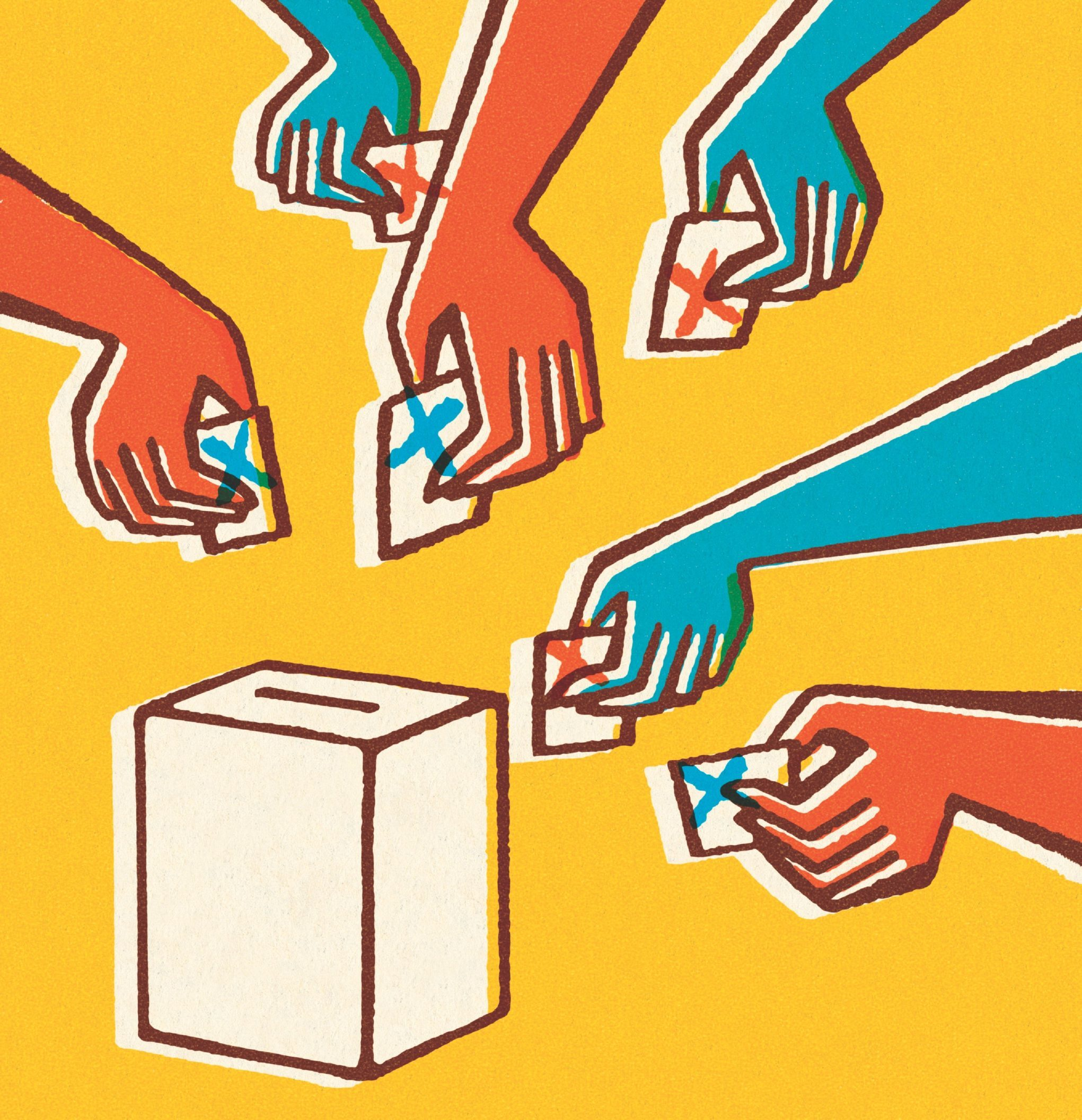 Voting hands helped by Alcuin senior