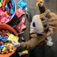 Halloween candy, kid in bear costume, trunk or treat, Halloween, iStock