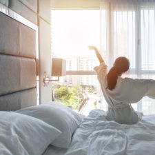 Woman staying in hotels for staycation