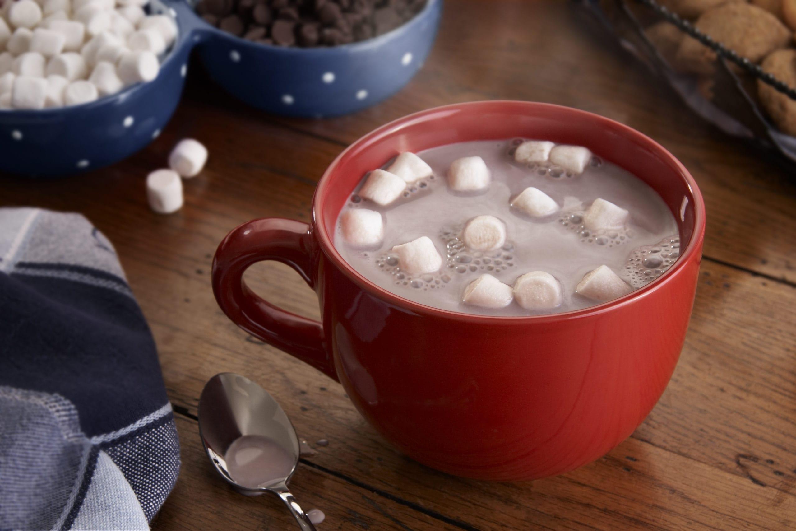 a mug filled with hot chocolate