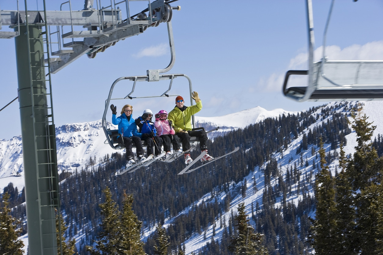 family skiing in colorado