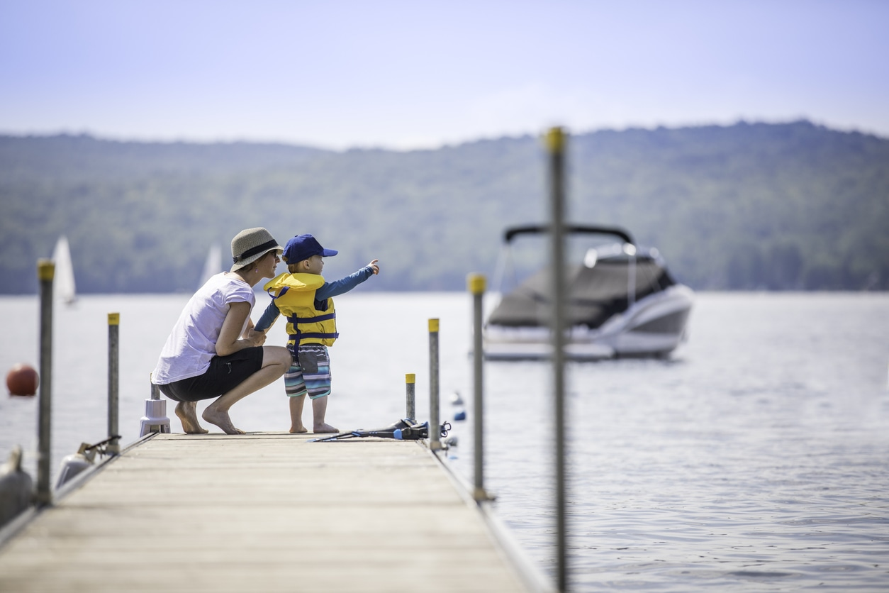 mom and son on texas lakes