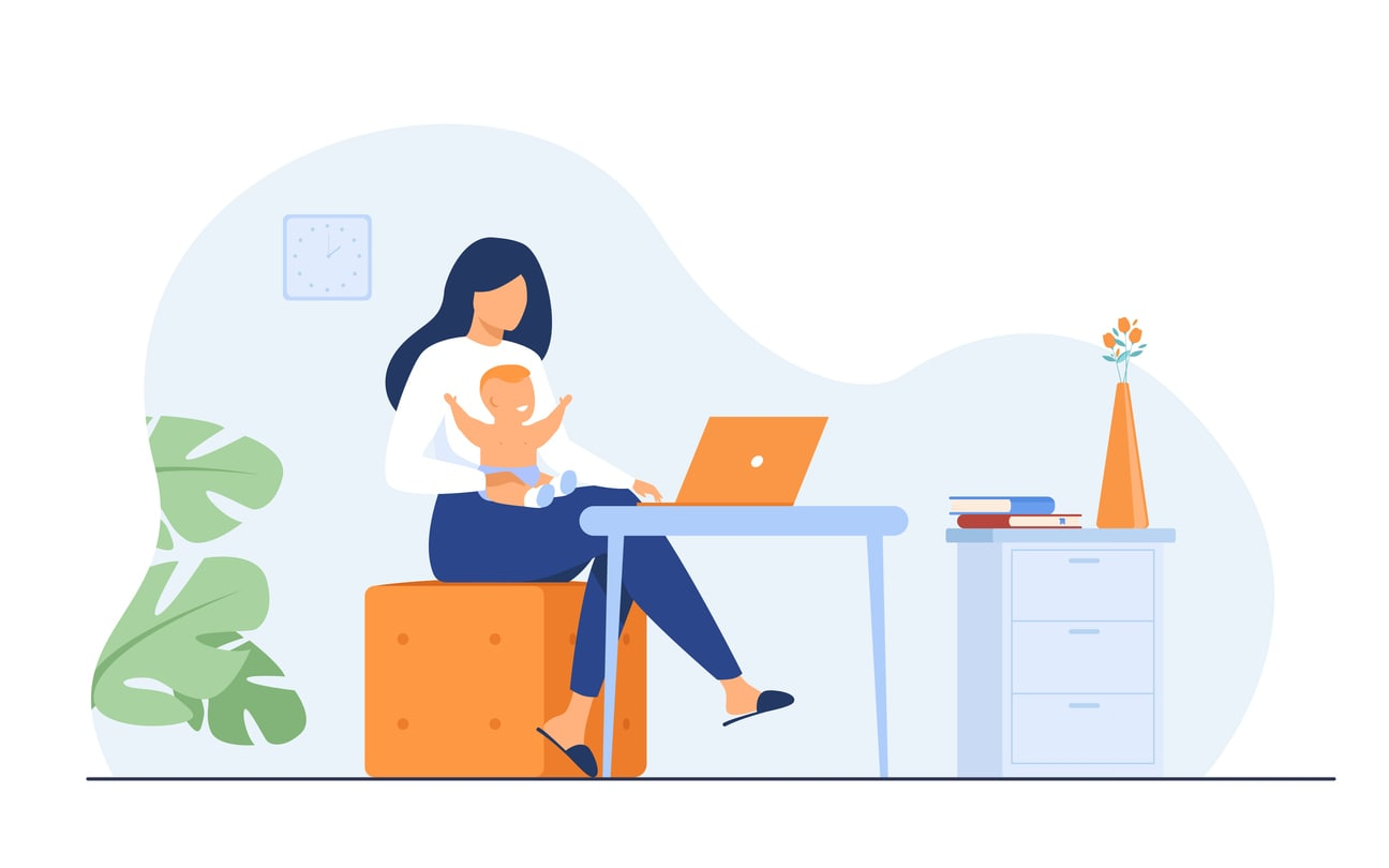 working mom at home with baby
