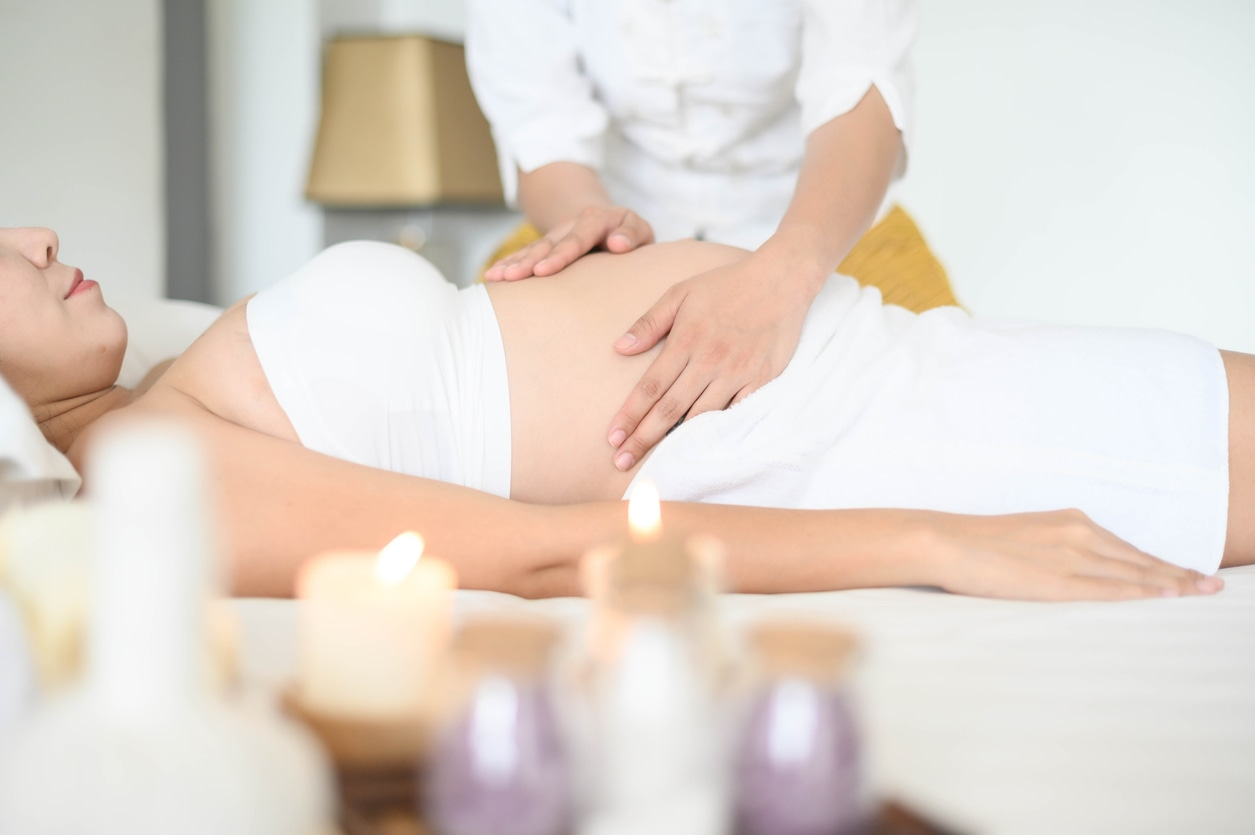woman receiving prenatal massage