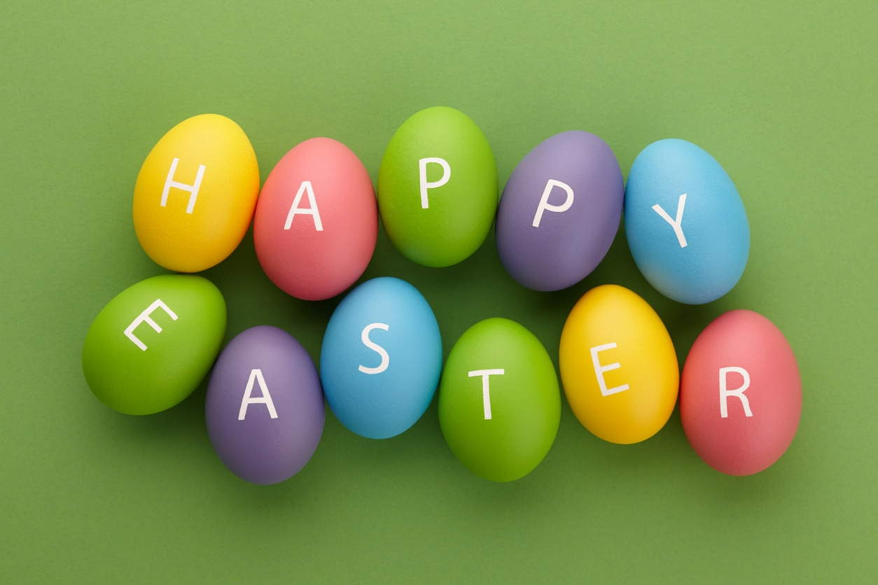 happy easter concept with eggs