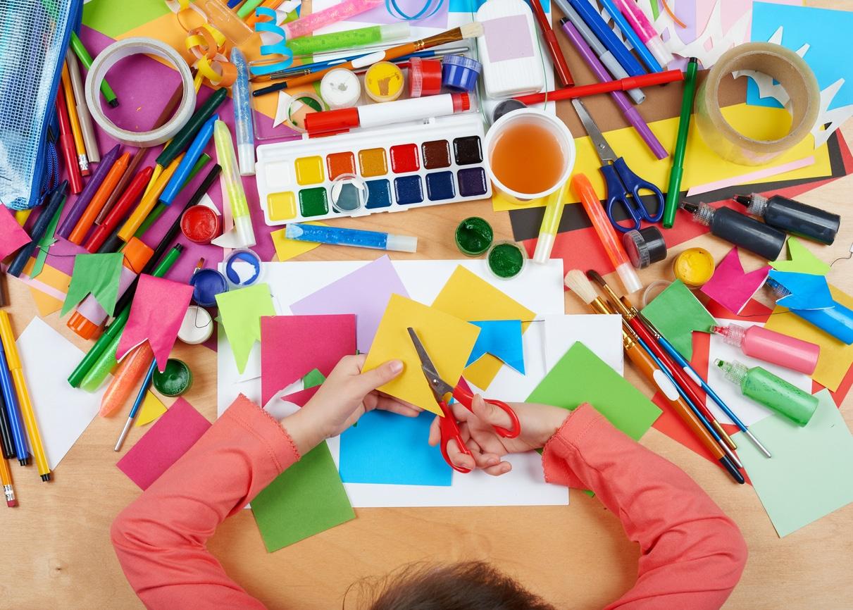 child working on spring crafts