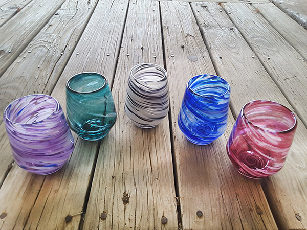 Vetro Glassblowing, stemless wine glasses