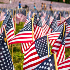 flags displayed for memorial day