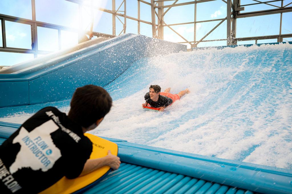 FlowRider surfing at Epic Waters Indoor Waterpark