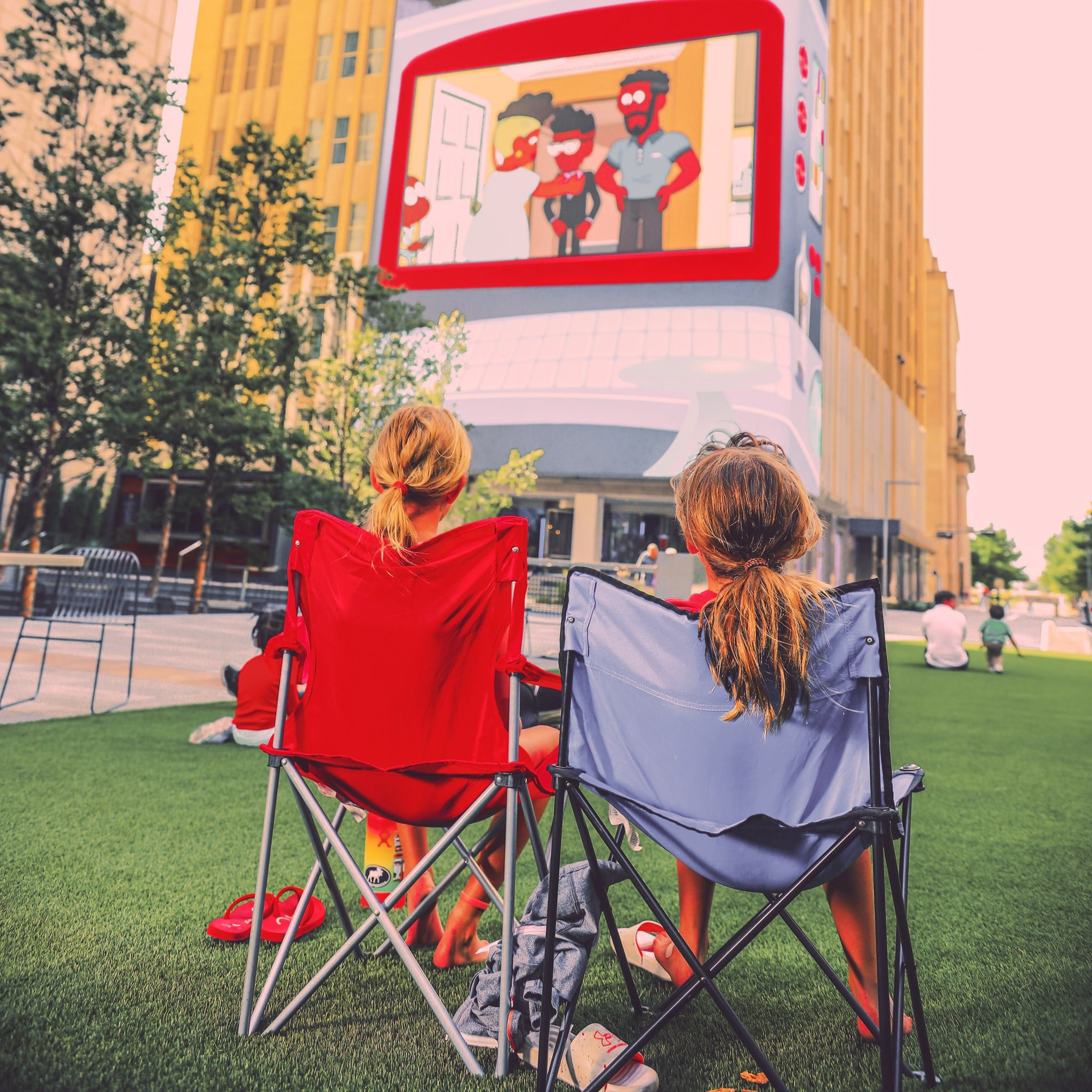 Saturday morning cartoons on the lawn at AT&T Discovery District, downtown Dallas